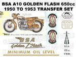 BSA A10 Golden Flash 1950 to 1954 Transfer Decal Set